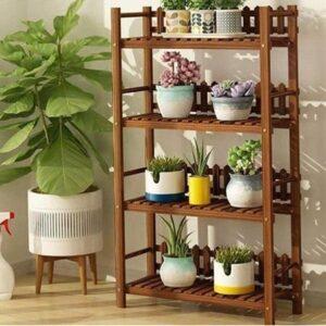 تصویر محصول استند گل چوبی طرح الینا 4 طبقه با گلدان گل
