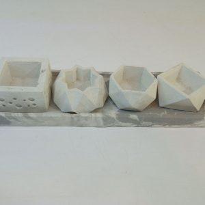 مجموعه 4 عدد گلدان بتنی مینیاتوری سفید رنگ